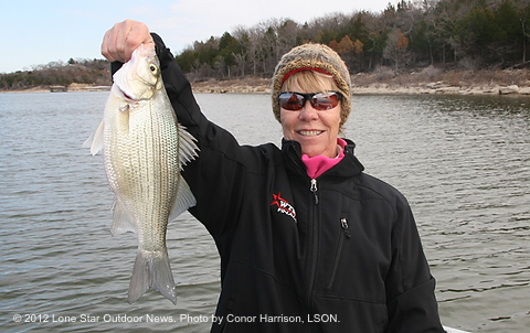 Mom with White Bass on Lake Texoma
