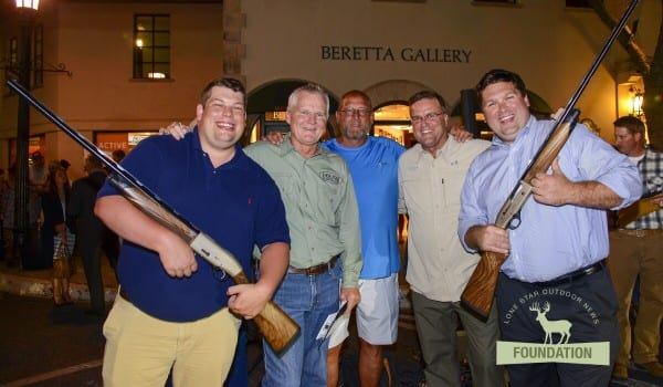 From left: Nick Drayovitch, Craig Nyhus, Billy Kinder, David Sams and Brent Karrington pose for photos after Drayovitch and Karrington won Beretta Xplor A400 shotguns during the LSON Wild Game dinner at the Beretta Gallery in Dallas, Texas, October 7, 2015. (LSON Photo/Tim Sharp)