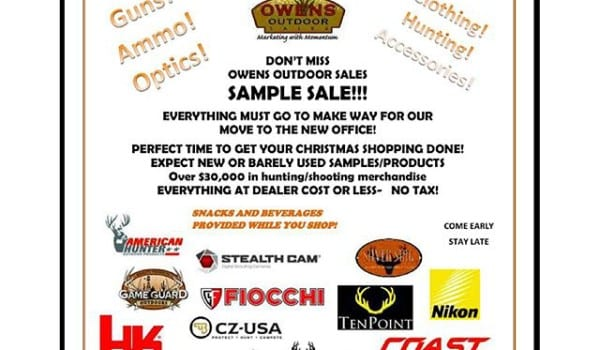 Sample sale. Everything must go. Our friends at Owens Outdoor Sales reps some of the best outdoor merchandise and they are having this sale Thursday 10-7 in Boerne Tx.