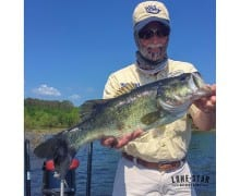 Bass fishing guru John Hale with a nice fish caught on a wood frog Top Toad at Sam Rayburn. John was testing some new prototype baits last week with Lone Star Outdoor News on the boat.