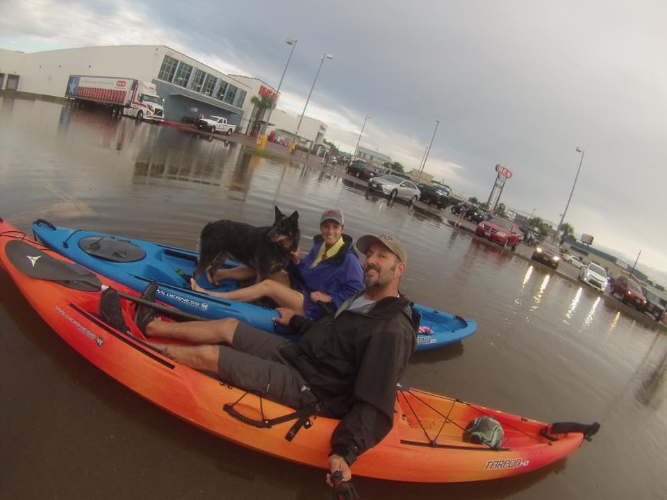 Dean Thomas and friend paddled to HEB in Aransas Pass. Photo by Dean Thomas, Slow Ride Guide Service, Facebook