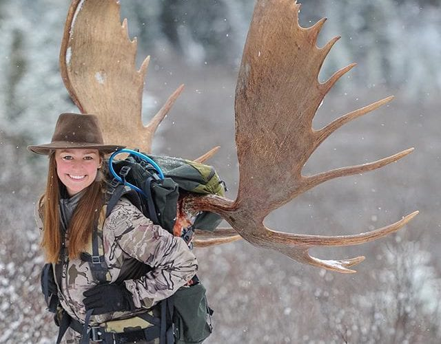 My moose angel. Proud of my daughter for hunting in some extremely harsh conditions. You dreamed of shooting a moose in a snow storm and you did!
