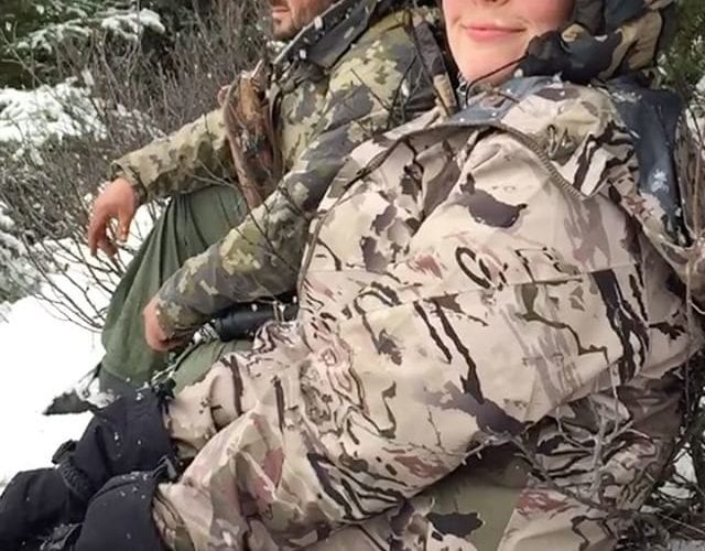 What the moose hunter does in the perfect snow storm.