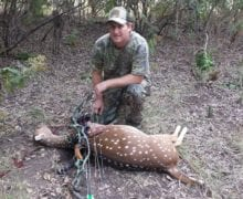 Mike Hughs took an Axis deer with a bow this weekend. Photo by Mike Hughs.